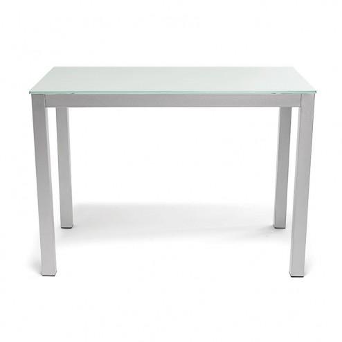 Mesa Cocina Fija de Cristal Blanco 76 x 120 x 80 cm