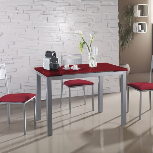 Conjunto Cocina Mesa Cristal Extensible + 4 Sillas