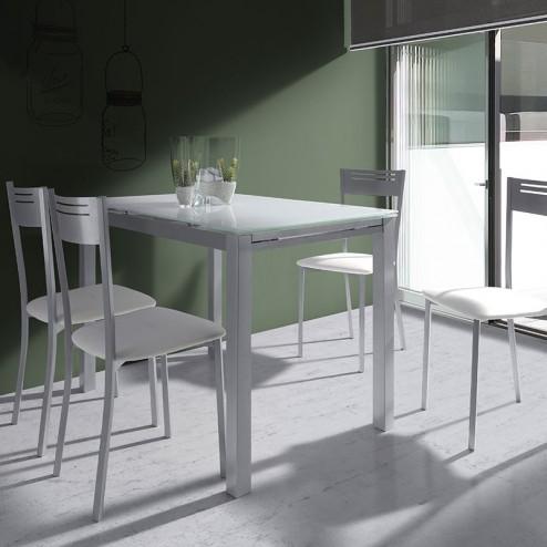 Mesa Cocina Cristal Extensible + 4 Sillas