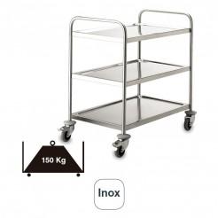 Carro Servicio 3 Bandejas Soldado Inox 150 kg
