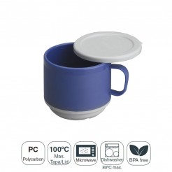 Taza Doble Pared Policarbonato con Tapa