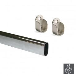 Barra para Armario Ovalada de Acero 30x15 mm (2 uds)