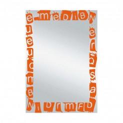 Espejo de Baño Luna Letras Naranja 55x75 cm