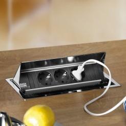 Enchufes ocultos para empotrar en encimera de cocina