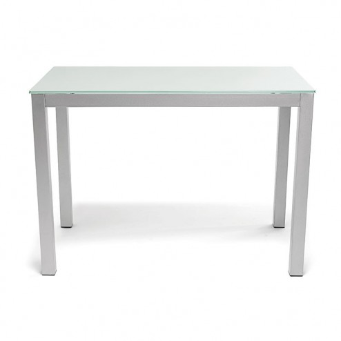 Mesa Cocina Fija de Cristal Blanco 76x120x80 cm