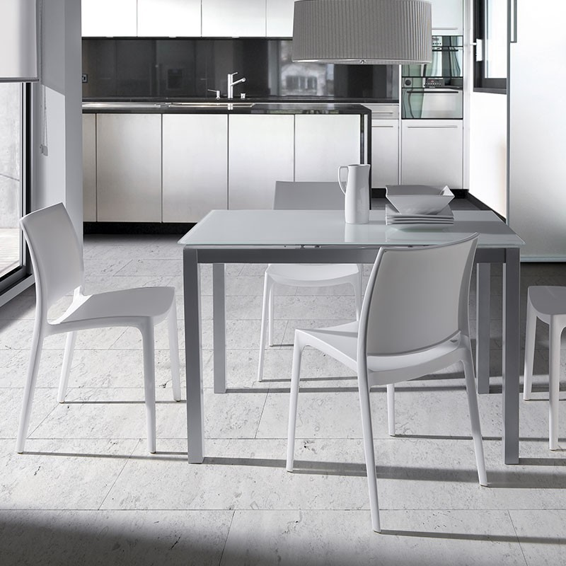 Mesa cocina fija de cristal blanco 76 x 120 x 80 cm for Mesa cocina cristal blanco