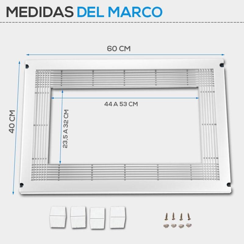 Marco Microondas Universal Inox Blanco Negro Y Marr N