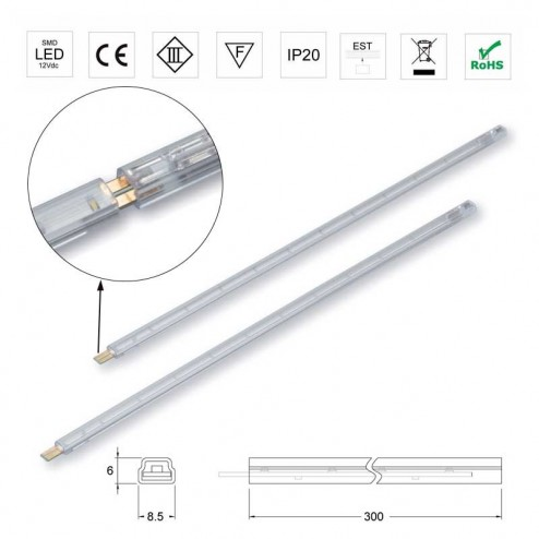 Barrita 300mm Luces Led 12V 0,7W 5500K Strip Rígida