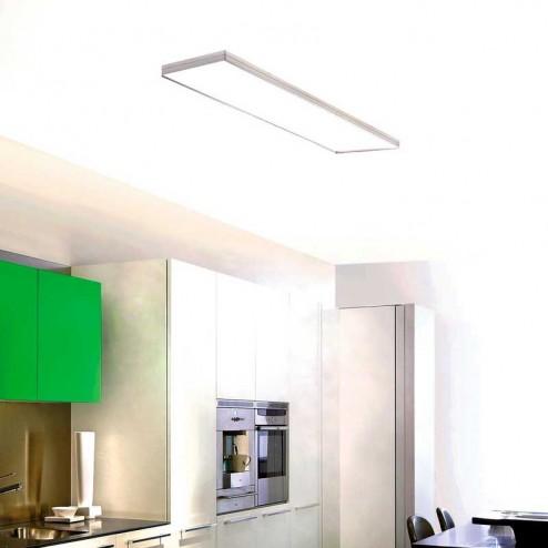 Lámpara Plafón Integrity Fluorescente en Aluminio Satinado y Blanco