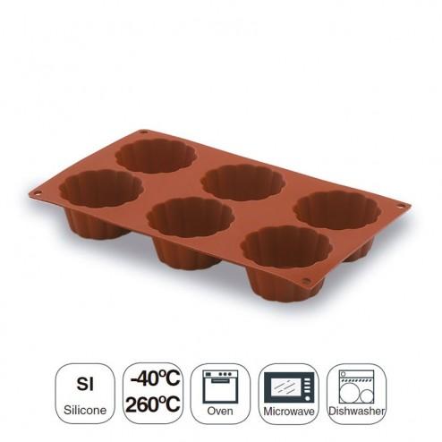 Molde Briochette 6 Cavidades 79 mm Silicona Pastryflex