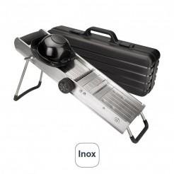 Mandolina Inox con Protector y Cuchillas Giratorias