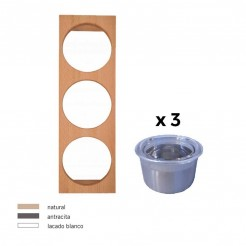 Portatarros + 3 Tarros Inox Cubertero Cube