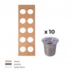 Especiero + 10 Recipientes Inox Cubertero Cube