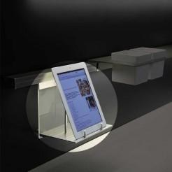 Ménsula Portatablet en Aluminio y Cristal para Barra de Colgar Stark