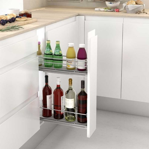 Extraíble Botellero Guías Laterales para Mueble Bajo de Cocina