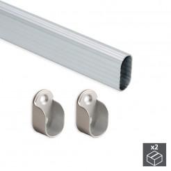 Barra para Armario Ovalada de Aluminio 30x15 mm (2 uds)