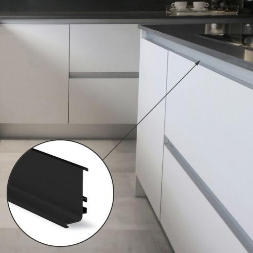 Perfil Gola Superior Horizontal Negro Cocina