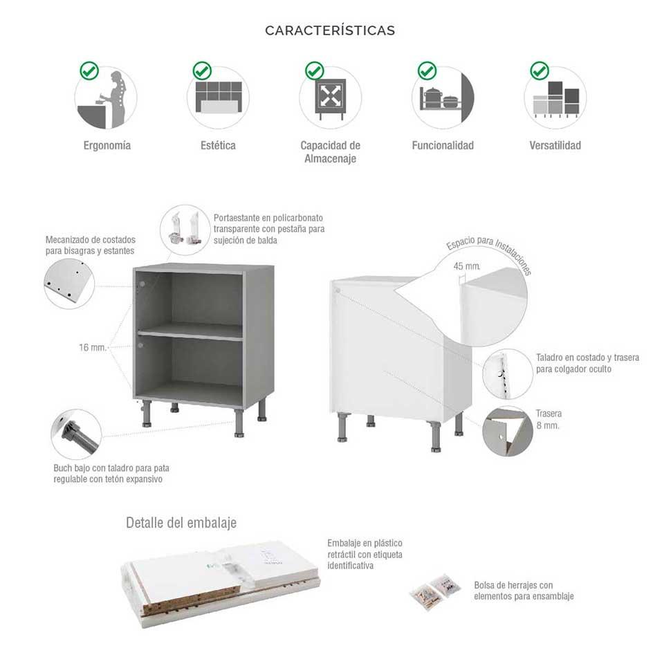 Alto Kit Mueble/Módulo Cocina Online Medida Estándar